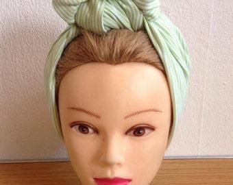 Pale Green Striped Turban