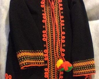 Black Wool Bohemian Folk-Style Coat
