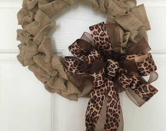 Natural Burlap Wreath, Leopard Burlap Wreath, Cheetah Burlap Wreath, Wild Side Wreath, Shabby Chic, Burlap, Cheetah, Leopard, Animal Print