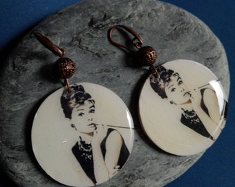 Handmade wooden earrings audrey hepburn