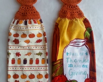 Full of Thanks and Giving Crochet Kitchen Towel set of 2, Crochet Towel Topper