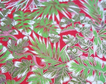 Japanese Yuzen (Chiyogami) Paper - 6x6 inches - 1, 3, 5, or 10-Sheet Pack - Green & Pinks Leaves on Red - #266