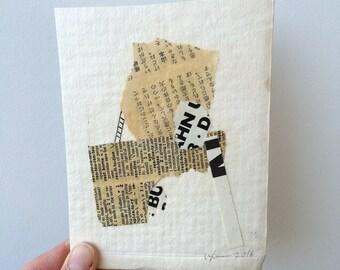 Higher Ground No. 1, original paper collage, by Vanessa Lam Fine Art