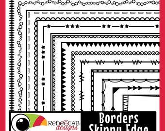 Clipart Borders, Skinny Edge Doodle Borders, Doodle Frames, Black Line Borders Clip Art