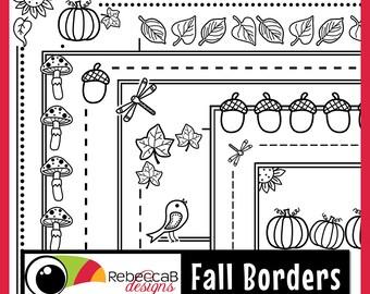 Fall Clip Art, Borders Clip Art, Digital Frames, Doodle Borders, Fall Borders, Autumn Borders, Autumn Clip Art, Instant Digital Download