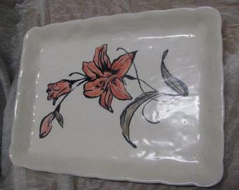 Handmade hand painted floral ceramic platter
