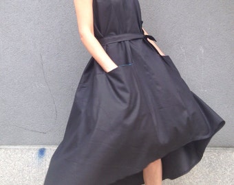 extravagant black dress/ black pocket dress/ asymmetric oversize dress/ midi cotton dress/ loose party dress/ black minimalist dress