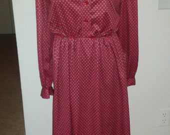 1970's Sears Red Polyester Dress