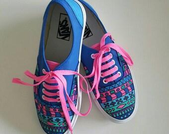 Aztec custom hand painted sneakers Vans/shoes