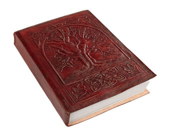 Embossed Leather Tree Of Life Journal With Handmade Paper