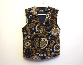 Silk Womens Vest Quilted Front Vest Clock Print Vest Baroque Waistcoat Womens Vest Steampunk Vest Large Size