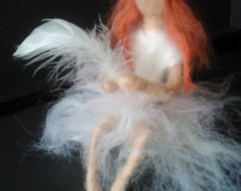 Memorial needle felt fairy complete with white feather