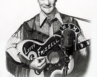 """11x14"""" Lefty Frizzell Economy Print by Award Winning Artist, Corey Frizzell"""
