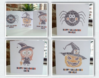 Personalised Halloween Card, Halloween Spider Card, Halloween Witch Card, Halloween Pumpkin Card, Personalised Card, Halloween Cards