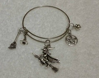 Expandable bangle charm bracelet with five silver charms, Halloween, Samhain, Wiccan, Pagan, Witch, hat, cauldron, broom, pentagram