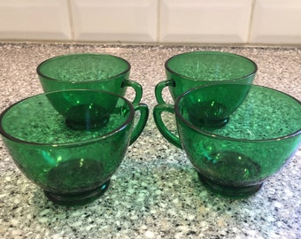 Anchor hocking emerald green tea coffee punch cups set of 4, vintage glassware