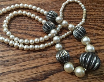 Vintage faux pearl necklace with silver tone beads, vintage necklace