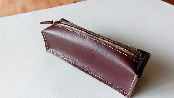 genuine leather pencil case, glasses case, mini pouch, burgundy