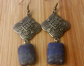 Antique Brass and Stone Dangle Earrings
