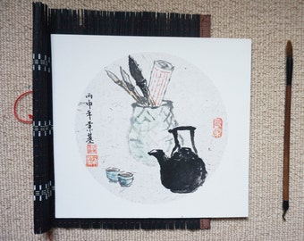 Original Chinese Ink and Wash Painting - Zen Art Brushes and Tea, 25x27cm, Chinese Painting, Wall Art, Home Decor, Great Gift!
