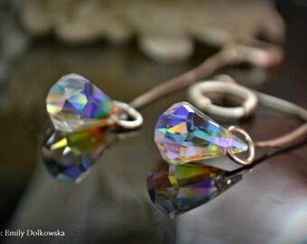 Swarovski diamond shaped earrings 925 sterling silver