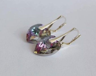 Earrings Swarovski heart silver 925