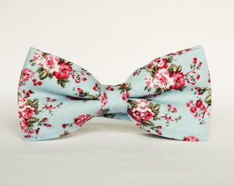 Blue floral bow tie floral Pre-tied bow tie gift for men wedding blue floral bow tie groomsmen
