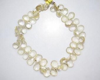 101.5 Ct.Natural Lemon Quartz Pear Shape Faceted Beads -Lemon Quartz Pear Shape Briolette , 8x7-11x7.5 mm ,  BL667
