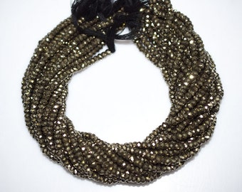 1 Strand Natural Pyrite Faceted Rondelle Beads 13 Inch Strand , Pyrite Rondelle Beads , Pyrite Rondelles , 5.25 mm - MC673