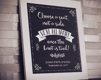 """Printable Chalkboard Wedding Choose a Seat Not a Side Sign, 8""""x10"""", Editable PDF, Instant Download"""