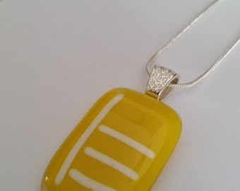Fused Glass Pendant - Yellow and White, Handmade Pendant Necklace