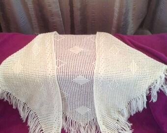 Crochet ivory lace shawl with fringes