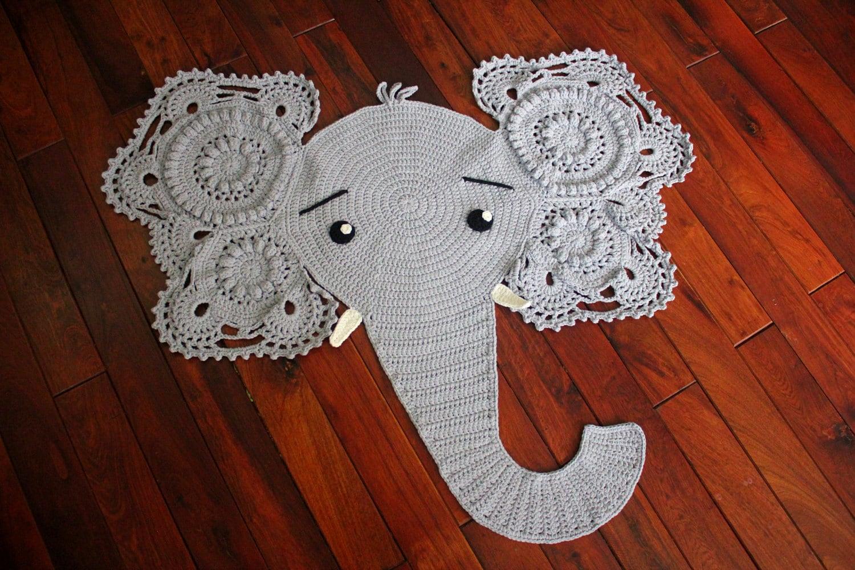 Free Crochet Elephant Rug Pattern : Handmade Elephant Mat Crochet Elephant play mat Elephant