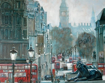 Original oil painting on canvas by Roger Pan, Hazy Morning, London, 20x24inch