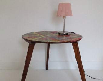 Vintage compass multicolour feet wooden coffee table