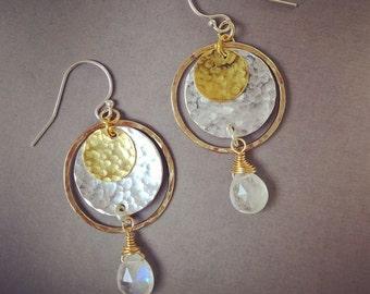 Rainbow moonstone earrings, gold hoops, mixed metal earrings, mixed metal hoops earrings, statement earrings, gold & silver earrings,