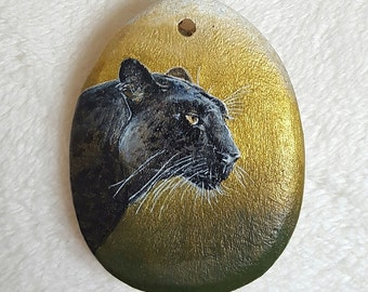 Black Panther pendant handpainted