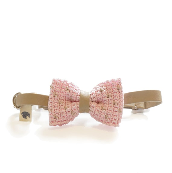 Pet Bow Tie - CHERRY BLOSSOM, pet accessories, pet bow tie, pet bowtie, dog bow tie collar, cat bow tie collar, crochet bow tie