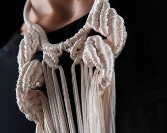 CERES NECKLACE-- Cream white long Hand knotted necklace/ statement fringe neckpiece/macrame tassel warrior necklace/ fringe bib necklace