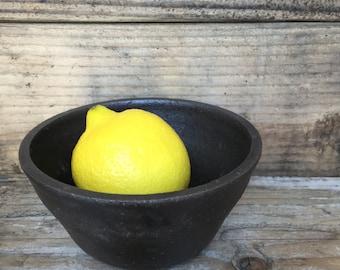 Small Ceramic Bowl with Faded Black Matte Glaze. Handmade. Pottery.