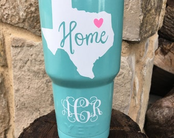 NEW YETI Rambler Custom Powder Coat - Mint Blue - Texas Home