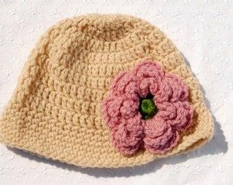 Crochet Beige Hat with Pink Flower, Cloche with Flower, Handmade Hat