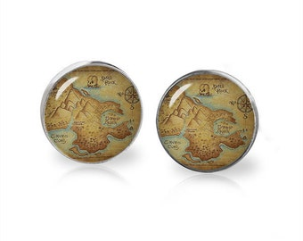 Neverland Map Stud Earrings Peter Pan Earrings Fandom Jewelry Cosplay Fangirl Fanboy