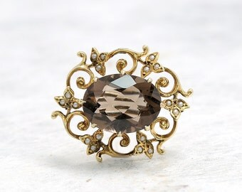 Gold Pearl Smokey Quartz Pin Brooch | Quartz Pin Brooch | Gold Lapel Pin  | Antique Jewelry | Antique Jewellery | Antique Brooch | Vine Pin