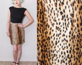 1980's Leopard Print Faux Fur Pencil Skirt / Small