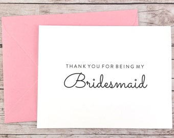 Thank You For Being My Bridesmaid Card, Bridesmaid Thank You Card, Wedding Card, Bridesmaid Gift - (FPS0016)