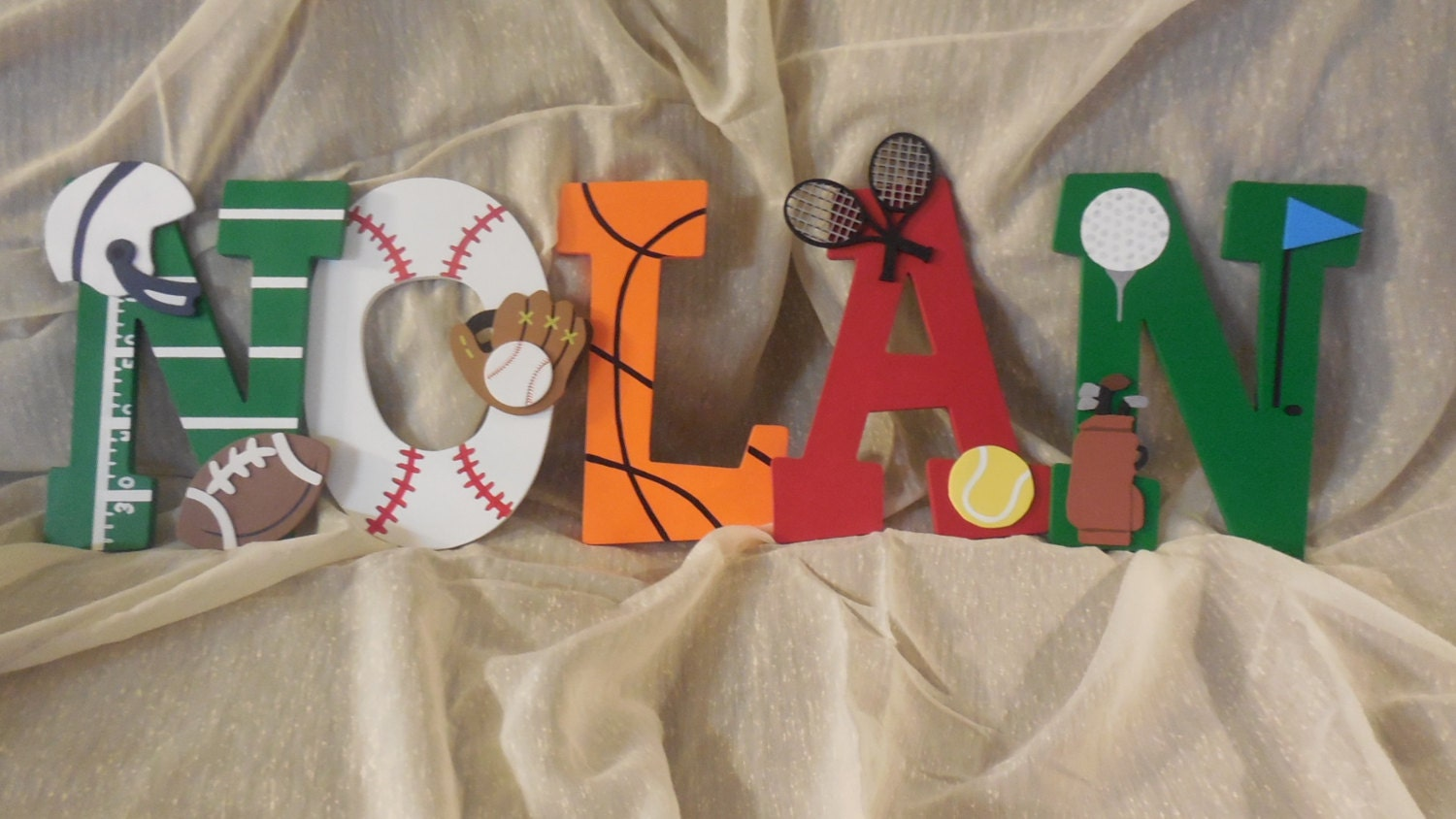 Sports Theme Hand Painted 9 Inch Wooden Letters For Kids Room