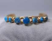 14k Solid Yellow Gold & Turquoise Cuff Bracelet- Signed