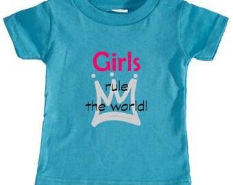 Awesome 'Girls rule the world' Design Infant 5.5oz Short Sleeve T-Shirt (Rabbit Skins 3401)