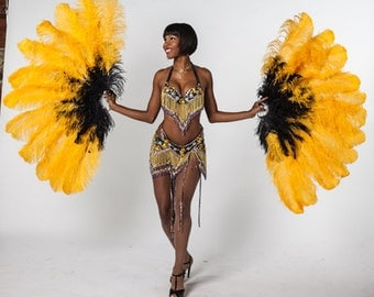 Gold, Black Handmade Beaded Carnival/Showgirl Costume by Neckelmann's w/ Gold & Black 58 inch Ostrich Tail Fans  - 15% Off Holiday Sale